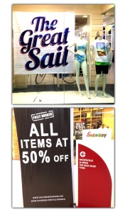 The SALE signs of REGATTA and FULLY BOOKED also caught my attention.