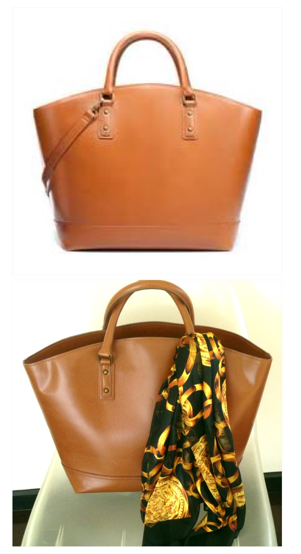 Zara Tan Oversized Tote Bag